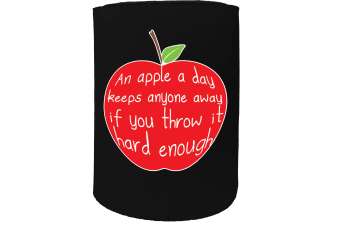 123t Stubby Holder - an apple a day enough - Funny Novelty