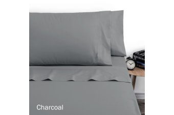 250TC Polyester Cotton Sheet Set Double Charcoal by Artex