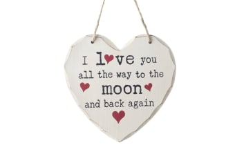 I Love You To The Moon Hanging Heart Sign (White) (15.5 x 15.5 x 0.6cm)