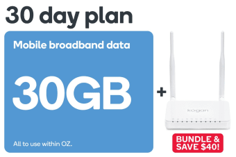 Kogan Mobile Broadband Bundle: 4G Modem Router & 30 Day DATA M Voucher Code (30GB)