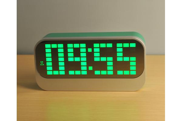 Led Digital Alarm Clock Large Display Portable Battery Powered Green