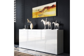 Modern Sideboard Buffet High Gloss Storage Cabinet 4 Doors Cupboard Table - White