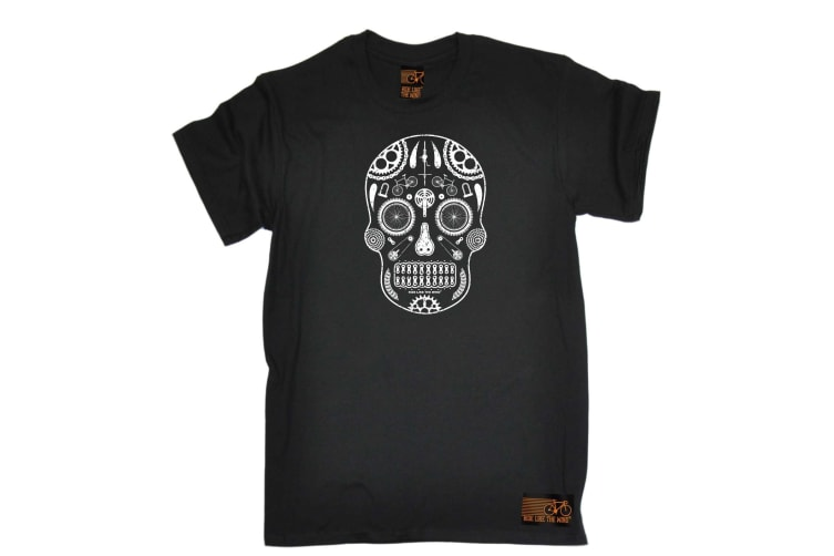 Ride Like The Wind Cycling Tee - Cycle Candy Skull - (Small Black Mens T Shirt)