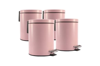 SOGA 4X 7L Foot Pedal Stainless Steel Rubbish Recycling Garbage Waste Trash Bin Round Pink