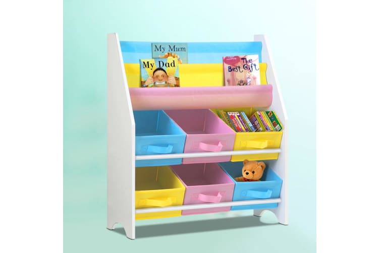 Artiss Kids Bookcase Childrens Bookshelf Toy Storage Organizer 2 Tiers Shelves