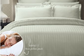 Royal Comfort 1200 Thread Count Damask Stripe Cotton Blend Quilt Cover Set + Goose Pillow Twin Pack (Queen, Silver)