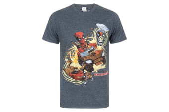 Marvel Deadpool Mens 4x4 T-Shirt (Charcoal)