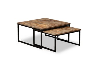 vidaXL 2 Piece Nesting Coffee Table Set Solid Reclaimed Teak
