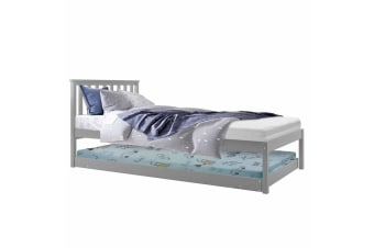Ariston Pine Timber Single Bed with Trundle - Grey