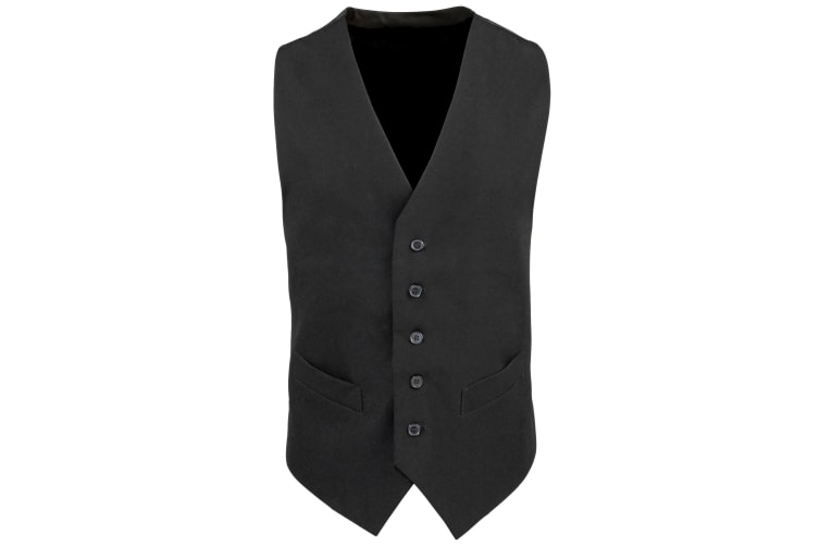 Premier Mens Lined Polyester Waistcoat / Catering / Bar Wear (Pack of 2) (Black) (S)