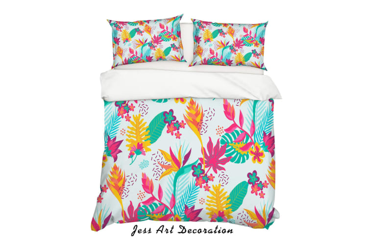 3D Red Flowers Green Leaves Quilt Cover Set Bedding Set Pillowcases 143-Single