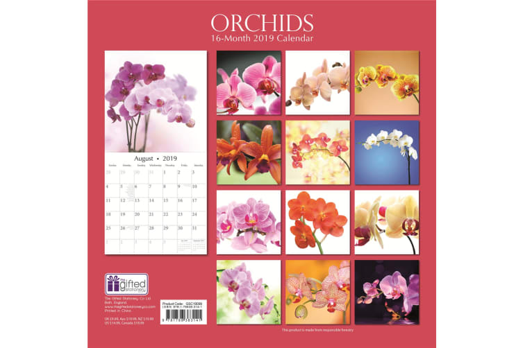Orchids 2019 Premium Square Wall Calendar 16 Month New Year Christmas Decor Gift