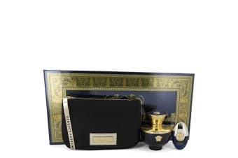 Versace Versace Pour Femme Dylan Blue Gift Set - Eau De Parfum Spray + 0.3 oz Mini Eau De Parfum Spray in Versace Black & Gold Pouch