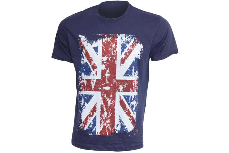 Mens Union Jack GB Print 100% Cotton Short Sleeve Casual T-Shirt/Top (Navy) (M - 38inch - 40inch)