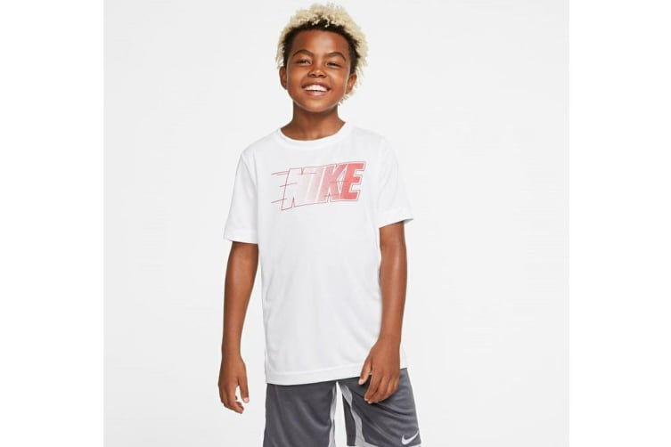 Nike Boys' Trophy Graphics Tees (White, Size S)