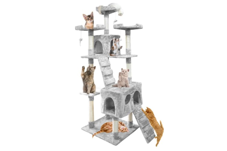 PaWz 0.6-2.1M Cat Scratching Post Tree Gym House Condo Furniture Scratcher Pole  -  Grey180CM