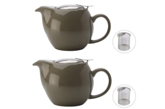 2x Maxwell & Williams Green 350ml Cafe Culture Porcelain Teapot Strainer Infuser