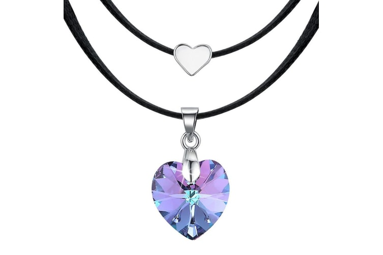 Love To Vitral Light Heart Necklace Embellished with Swarovski crystals