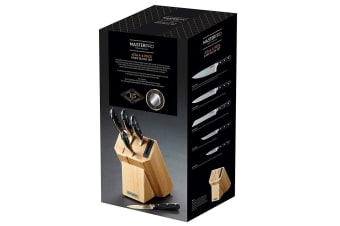 6pc MasterPro Atilla Knives Stainless Steel Chef Cutlery Knife Block Storage Set