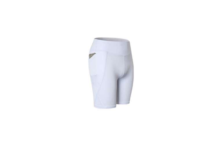 Women Performance Athletic Compression Shorts With Side Pocket - White White XL