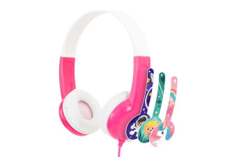 Buddyphones Connect Wired Headphones 3.5m w/Stickers/Microphone Kids 3y+ Pink