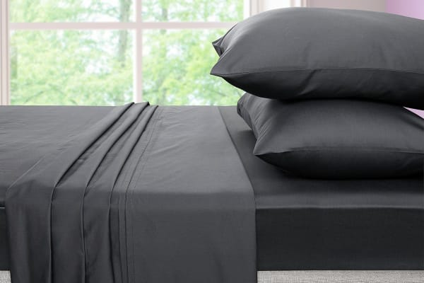 Ovela 600TC 70% Bamboo / 30% Cotton blend Bed Sheet Set (King, Charcoal)