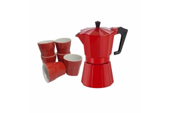 Pezzetti Italian Stove top espresso coffee maker percolator 6 cup Coffee Red
