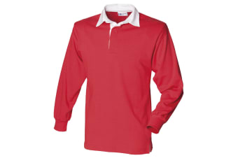 Front Row Long Sleeve Classic Rugby Polo Shirt (Red/White)