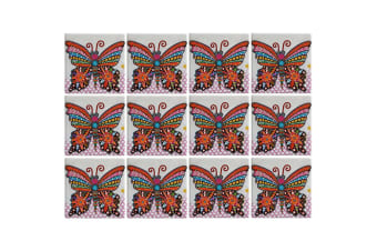 12pc Maxwell & Williams Smile Style Ceramic Tile Coaster Flutter 9cm Placemat