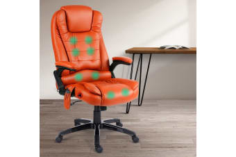 Artiss Massage Office Chair Heated Gaming Chair Computer Chairs 8 Point Amber