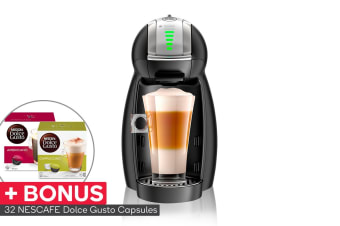 NESCAFE Dolce Gusto Genio 2 Automatic Capsule Coffee Machine with BONUS 32 Capsules - Matte Black