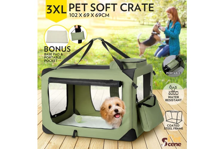 Pet Dog Cat Soft Crate Folding Puppy Travel Cage XXXL - Army Green