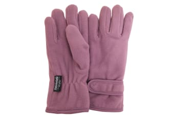 FLOSO Girls Childrens/Kids Plain Thermal Thinsulate Fleece Gloves (3M 40g) (Lilac)