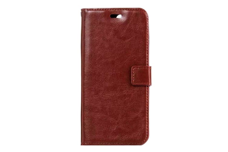 For iPhone 8 PLUS 7 PLUS Wallet Case Modern Horse Texture Leather Cover Brown