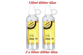 2 x 120ml SILVER GLITTER GLUE Sparkle Colour Craft Art Paper Clothes Decor Card