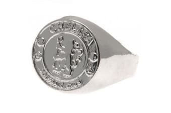 Chelsea FC Silver Plated Medium Crest Ring (Silver)