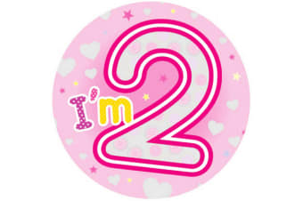 Expression Factory Childrens Girls I Am 2 Today Giant Badge (Pink)