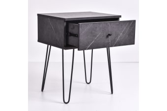 Ashe Bedside Table - Grey Stone