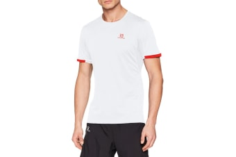Salomon Agile + Short Sleeve Tee Men's (White, Size Medium)