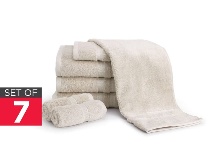 Ovela Set of 7 Egyptian Cotton Luxury Towels (Beige)