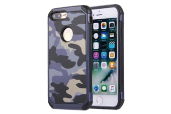 For iPhone 8 PLUS 7 PLUS Case Stylish Camouflage TPU Hard Armour Cover Dark Blue