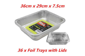 36 x Aluminium Foil Container w Lid Catering Food Disposable Tray BBQ Roast Oven Bake