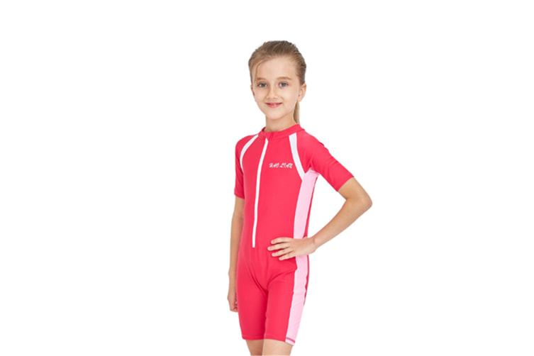 Swimsuit One Piece Kid Swimwear Uv Sun Protection Rose Red M