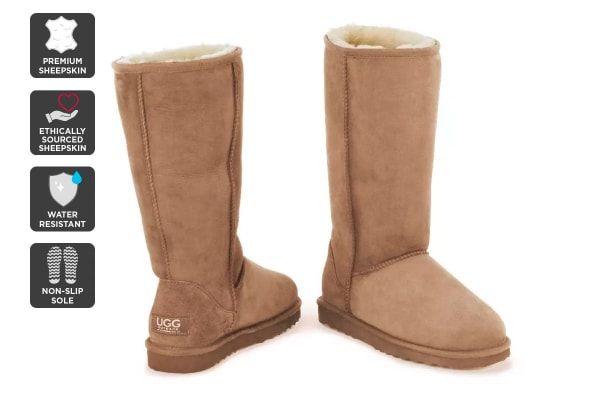 Outback Ugg Boots Long Classic - Premium Sheepskin (Chestnut, 10M / 11W US)