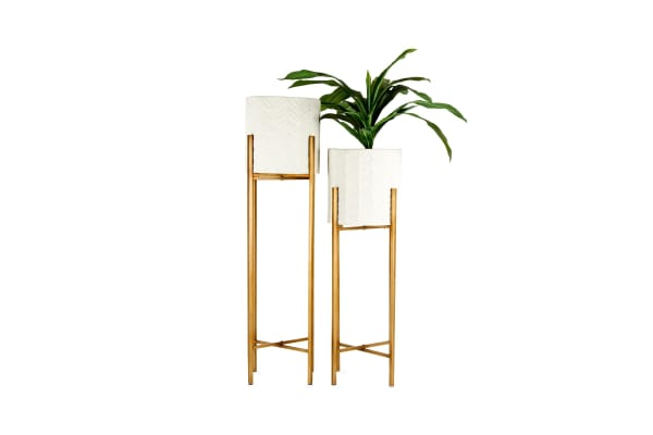 Set of 2 | Nested Lily Pot Planter | White & Gold