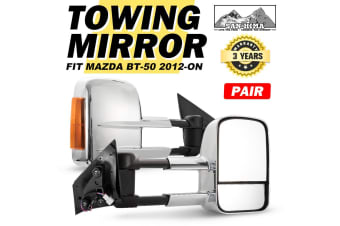 SAN HIMA Pair Extendable Towing Mirrors Chrome Mazda BT50 2012-Current W/Indicators