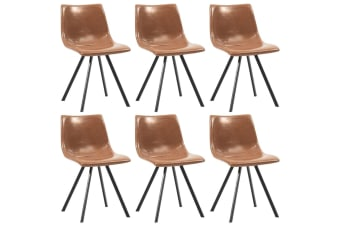 vidaXL Dining Chairs 6 pcs Shiny Brown Faux Leather