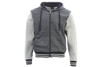 Mens Varsity Hoodie Casual Jacket College Sweatshirt Sport Fleece Zip Up Jumper  - Navy