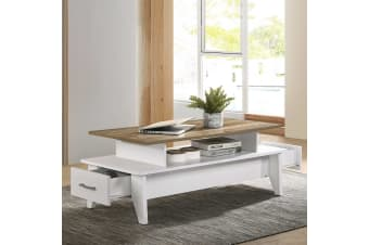 Modern Wooden Coffee Table Drawers Storage Shelf in Oak White