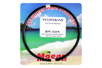 30ft Coil of 20lb Black Nylostrand Stainless Steel Fishing Wire Leader Material